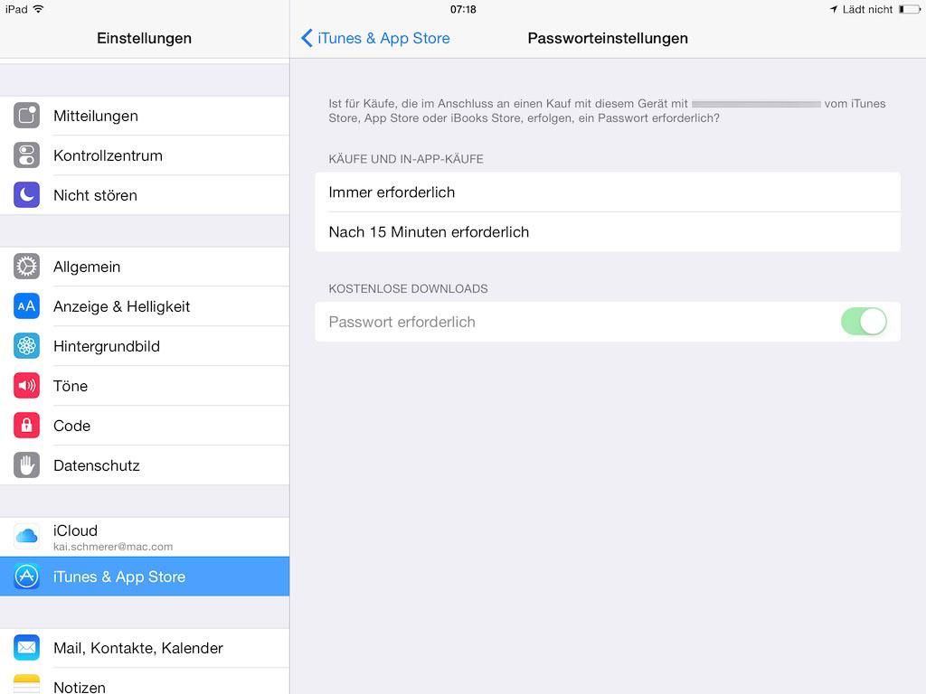 iOS 8.3: Passwortabfrage für kostenlose Downloads lässt sich abstellen (Screenshot: ZDNet.de)