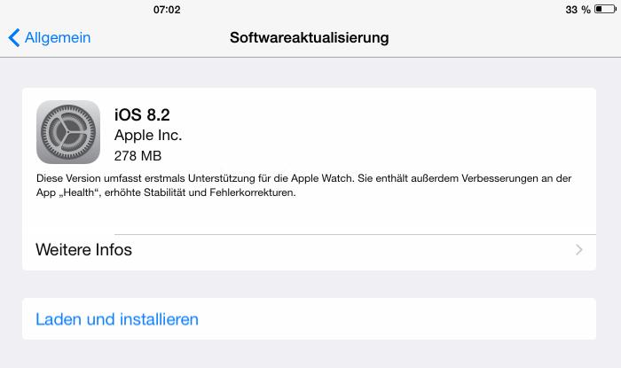 iOS 8.2 (Screenshot: ZDNet).