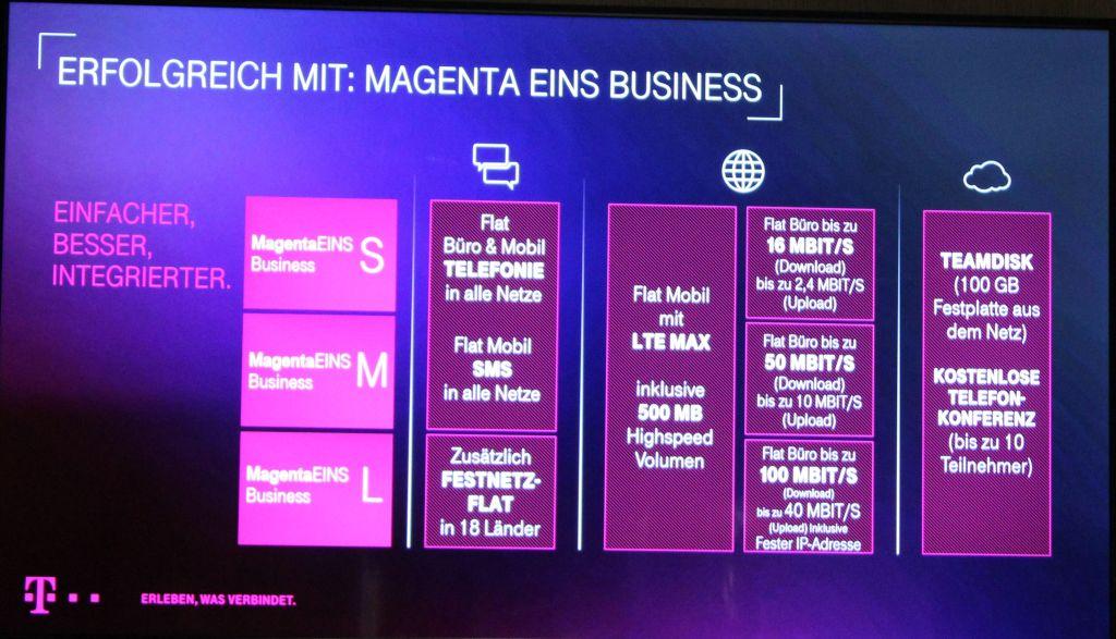Überblick MagentaEins-Tarife für Geschäftskunden (Bild: ITespresso.de)