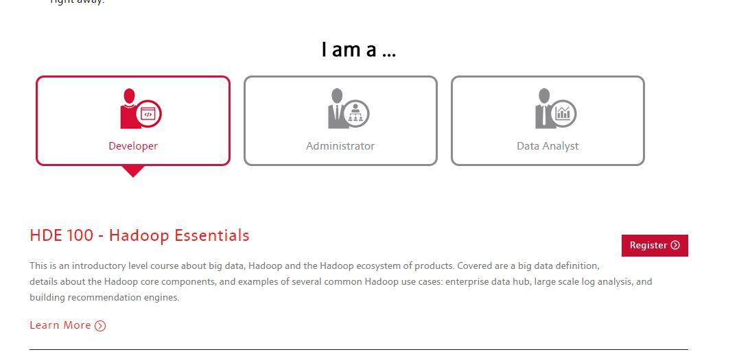 Je nach Ausrichtung können Interessierte sich auf MapR für verschiedene Kurse registrieren. (Screenshot: silicon.de)
