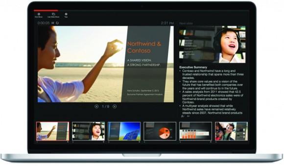 Microsoft hat auch die Präsentationsansicht von PowerPoint 2016 für Mac überarbeitet. (Bild: Microsoft)