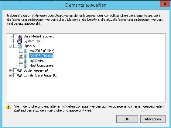 Virtualisierte Linux-Server lassen sich auch mit der Windows-Server-Sicherung online sichern. (Screenshot: Thomas Joos)
