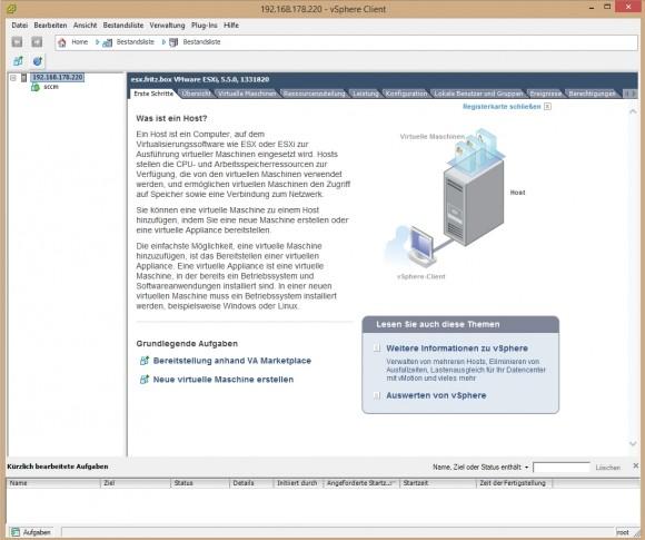 Linux kann auch mit VMware Hypervisor aka ESXi virtualisiert werden. (Screenshot: Thomas Joos)