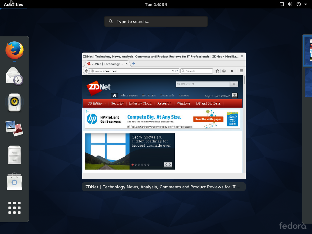 Das GNOME 3.16 Interface in Fedora 22. (Screenshot: Steven J. Vaughan-Nichols/ZDNet.com)