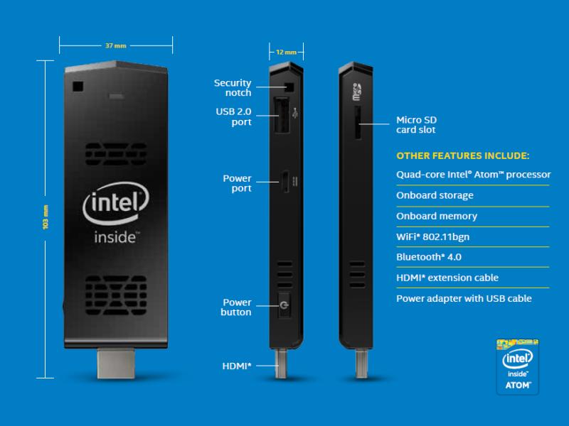 Der Intel Compute Stick wird mit Windows und Linux erhältlich sein (Bild: Intel)