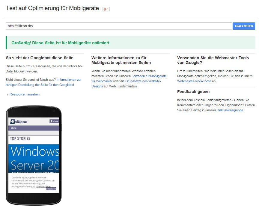 silicon.de ist optimal auf die Umstellung des Google-Such-Algorithmus vorbereitet. (Screenshot: silicon.de)