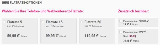 Die neuen Flatrate-Pakete für Telefon- und Webkonferenzen im Überblick (Screenshot: ZDNet.de)