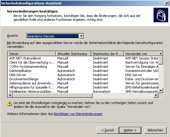 Der Sicherheitskonfigurations-Assistent in Windows Server 2003 kann Windows-Server vor Angreifern schützen. (Screenshot: Thomas Joos)
