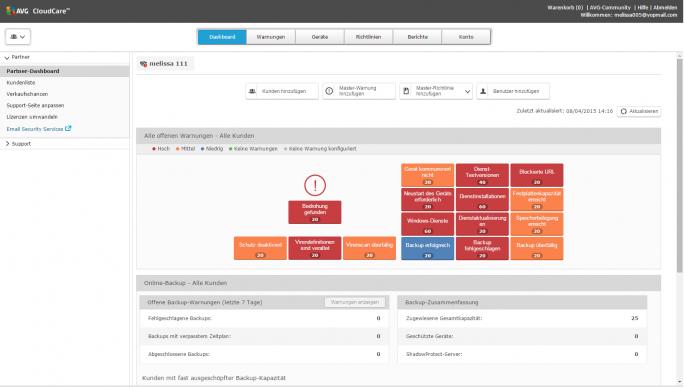 Das Dashboard von Cloud Care verschafft den schnellen Überblic (Screenshot: AVG).