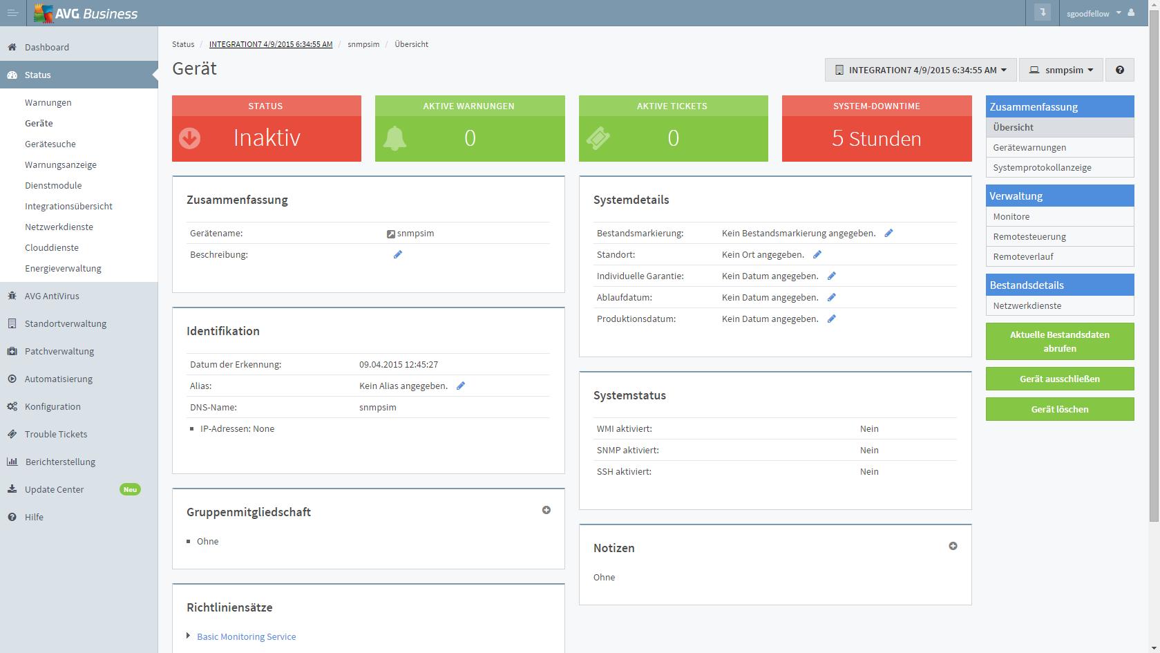 Auch der Zugang zu Managed Workplace erfolgt Cloud-basiert über das Dashboard (Screenshot: AVG)