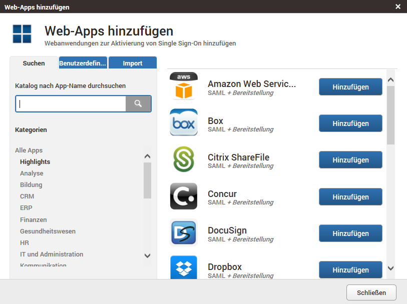 Secure Sign-On regelt auch den Zugang zu Web-Apps (Screenshot: AVG).