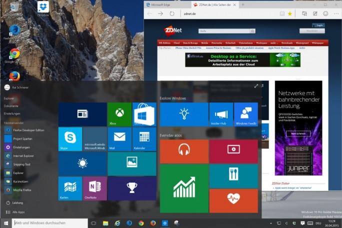 Surface Pro 3: Auch mit Windows 10 bleibt das Arbeitstempo hoch (Screenshot: ZDNet.de)