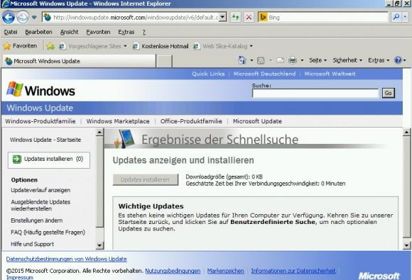 Nach einige Aktualisierungsvorgängen ist der Server auf dem neusten Stand und halbwegs sicher. (Screenshot: Thomas Joos)