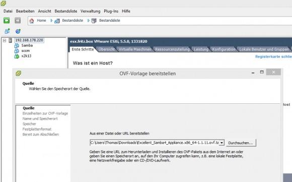 Im Assistenten lassen sich OVF-Dateien importieren und als VM bereitstellen. (Screenshot: Thomas Joos)