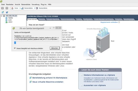 VMware ESXi lädt die lokale Festplatte der Samba4-Appliance in den eigenen Datenspeicher. (Screenshot: Thomas Joos)