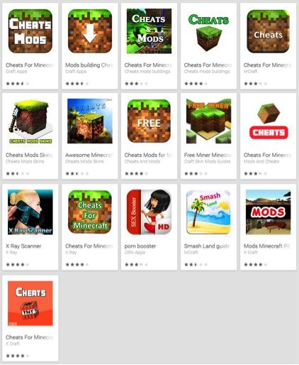 Eset hat im Google Play Store insgesamt 33 gefälschte Minecraft-Apps entdeckt (Screenshot: Eset).