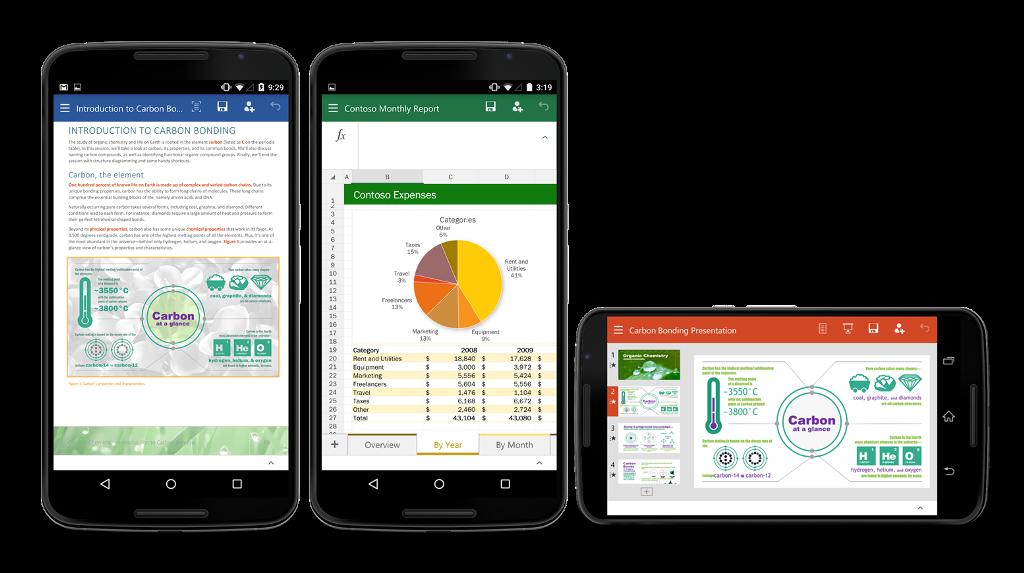 Die Preview von Office für Android-Smartphones umfasst Word, Excel und PowerPoint (Bild: Microsoft).