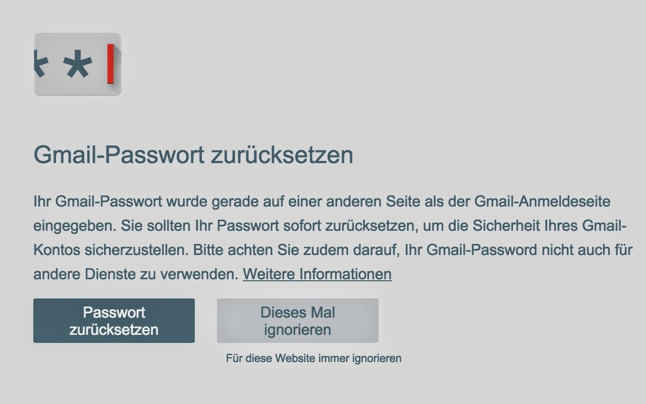 Passwort-Warnung (Bild: Google)