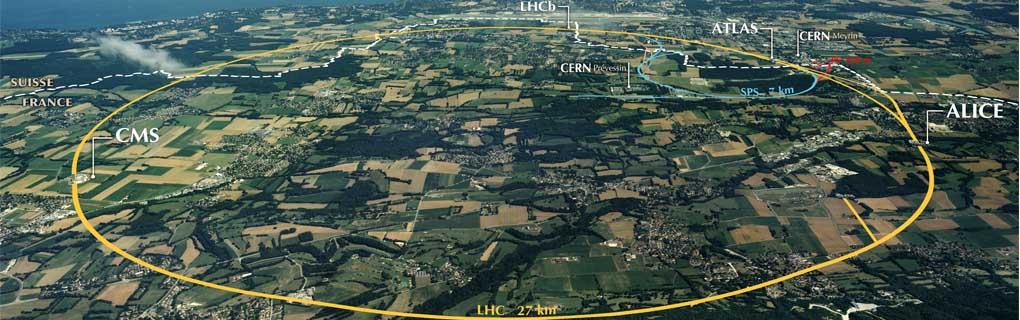 Der Umfang des unterirdisch verlegten LHC. (Bild: CERN)