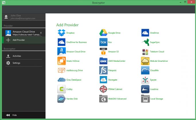 Boxcryptor unterstützt bereits seit längerem zahlreiche Cloud-Speicher, mit Dropbox wird diese Möglichkeit im Zuge der offiziellen Partnerschaft nun deutlich ausgebaut (Screenshot: Boxcryptor).
