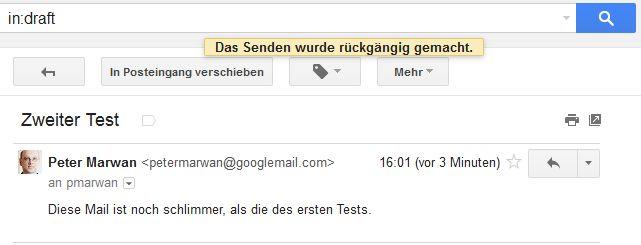 Wird die E-Mail rechtzeitig aufgehalten, findet sie sich im Entwurfsordner und kann dort korrigiert werden (Screenshot: ITespresso).