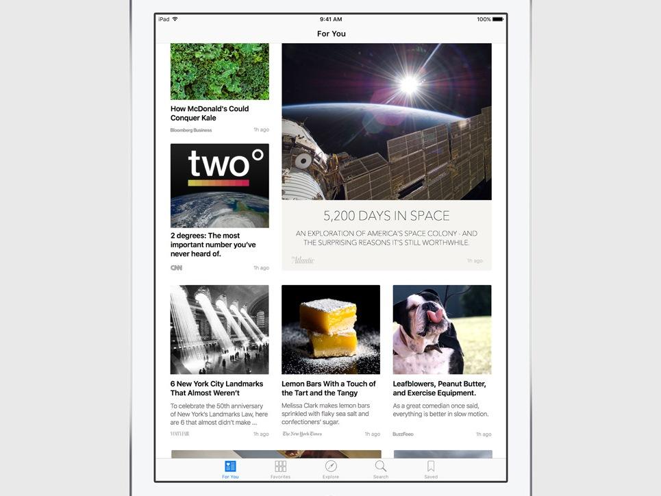 Die neue News-App kombiniert laut Apple das Design eines Print-Magazins mit der Interaktivität digitaler Medien (Bild: Apple).