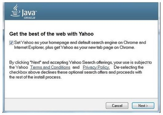 Java-Update mit Yahoo-Empfehlung. (Bild: Oracle)
