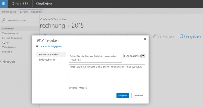 In OneDrive for Business lassen sich Dokumente auch für andere Anwender im Unternehmen freigeben. (Screenshot: Thomas Joos)