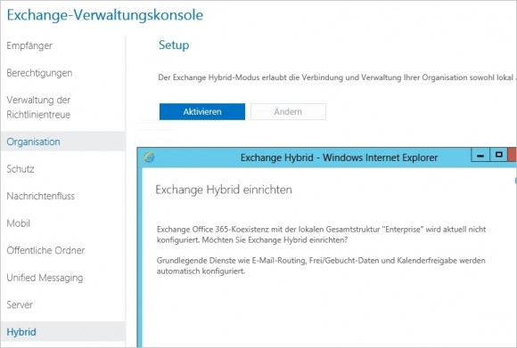 Lokale Exchange-Installationen lassen sich über Assistenten an Office 365 anbinden. (Screenshot: Thomas Joos)