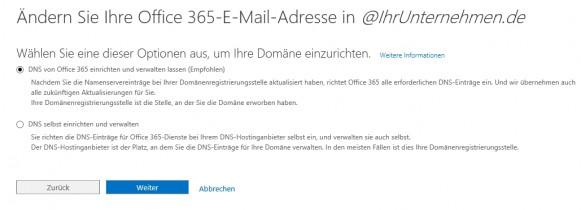 In Office 365 können Unternehmen auch eigene E-Mail-Domänen anbinden. Diese werden auch zur Anbindung an SharePoint genutzt. (Screenshot: Thomas Joos)