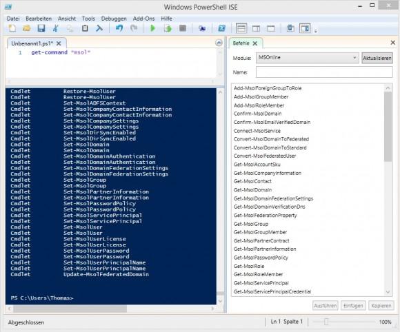 Office 365 lässt sich auch über die PowerShell verwalten. (Screenshot: Thomas Joos)
