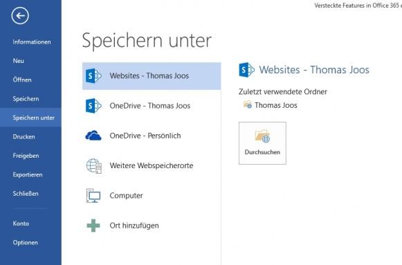 Der Cloudspeicher in Office 365 lässt sich direkt an Office anbinden. (Screenshot: Thomas Joos)