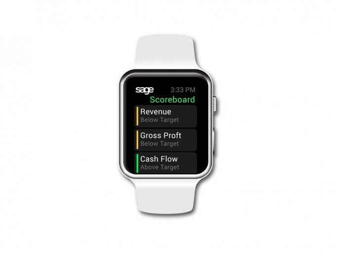 Sage Life kann auch auf der Apple Watch einen Echtzeit-Blick auf die Geschäftszahlen geben. (Bild: Sage)