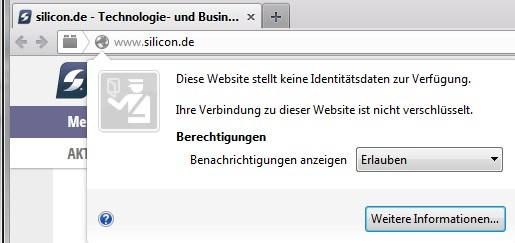 Firefox: Desktop-Benachrichtigungen deaktivieren (Screenshot: silicon.de)