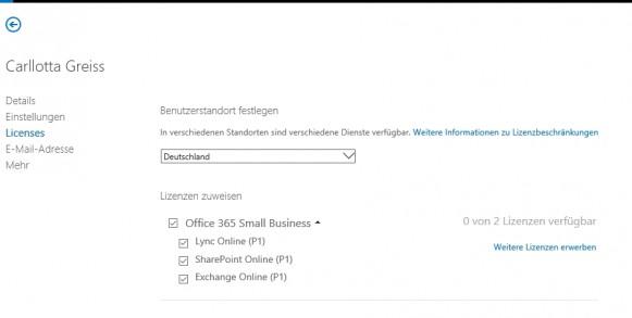 Für jeden Benutzer können Unternehmen steuern welche Funktionen er nutzen darf und welche Cloud-Funktionen freigeschaltet werden. (Screenshot: Thomas Joos)