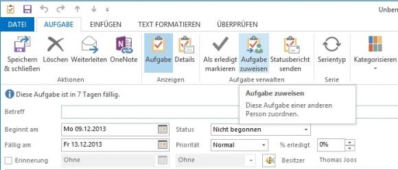 Mit der Aufgabenverwaltung können Anwender sich gegenseitig Aufgaben zuteilen und deren Verlauf verfolgen. (Screenshot: Thomas Joos)