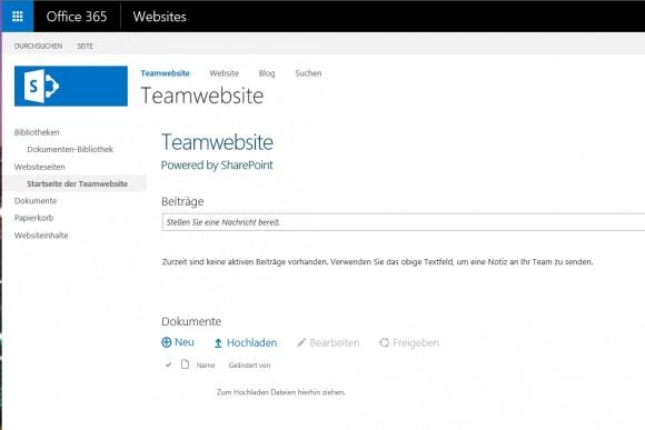 Über die Teamseite können Anwender im Team Dokumente austauschen, hoch- und herunterladen (Screenshot: Thomas Joos)