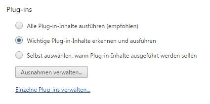 Google Chrome unterscheidet zwischen zentralen und unwichtigen Flash-Inhalten (Screenshot: ZDNet.de)