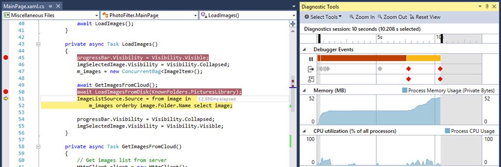 Visual Studio 2015 mit einem neuen Diagnostics Tool. (Bild: Microsoft)