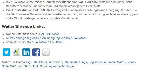 SAP S/4 HANA oder S/4HANA ... offiziell ist die Schreibweise ohne Leerzeichen. (Screenshot: silicon.de)