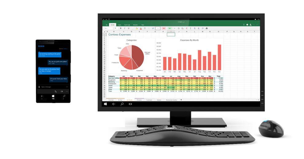 Continuum: Windows-Smartphone als Basis für einen Desktop-Arbeitsplatz. Die dafür geeigneten Geräte sollen im Herbst erscheinen (Bild: Microsoft).