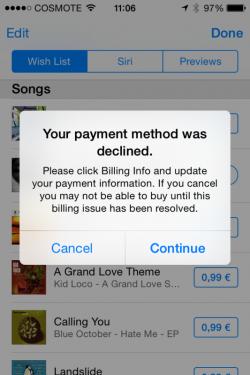 iTunes lehnt Käufe über griechische Bankkonten ab (Screenshot: Sotiris B via Twitter).