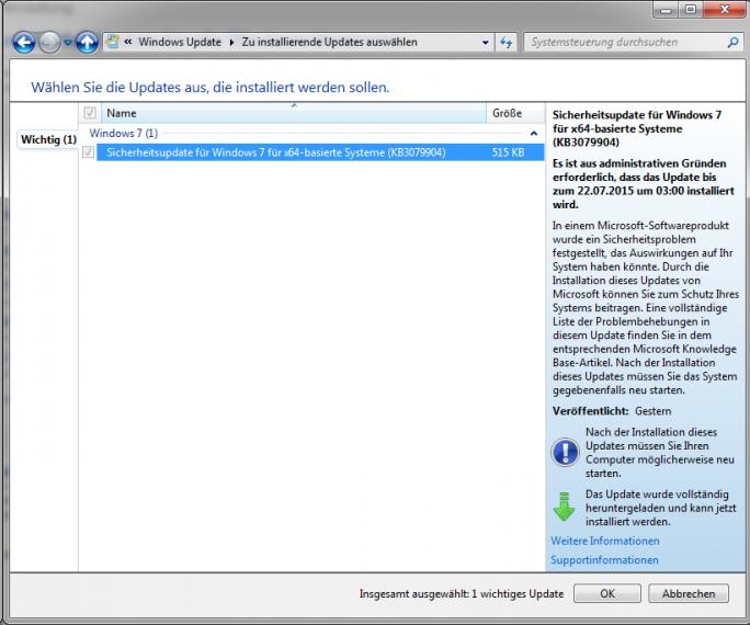 Notfall-Patch für Windows: Microsoft muss kurz nach dem Patchday aus Sicherheitsgründen noch einmal das Betriebssystem aktualisieren. (Screenshot: ZDNet.de)