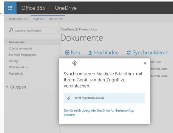 OneDrive for Business synchronisieren Anwender auf Wunsch auf einem PC und können mit Apps auch mobil auf Daten zugreifen. (Screnshot: Thomas Joos)
