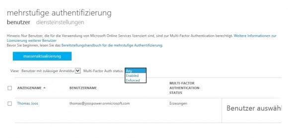 Mit der Mehrwege-Authentifizierung erhöhen Administratoren die Sicherheit für Benutzer in Office 365. (Screenshot: Thomas Joos)