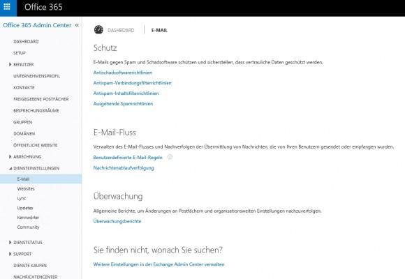 Im Bereich E-Mail lassen sich in der Administrator-App von Office 365 zahlreiche Sicherheitseinstellungen vornehmen. (Screenshot: Thomas Joos)