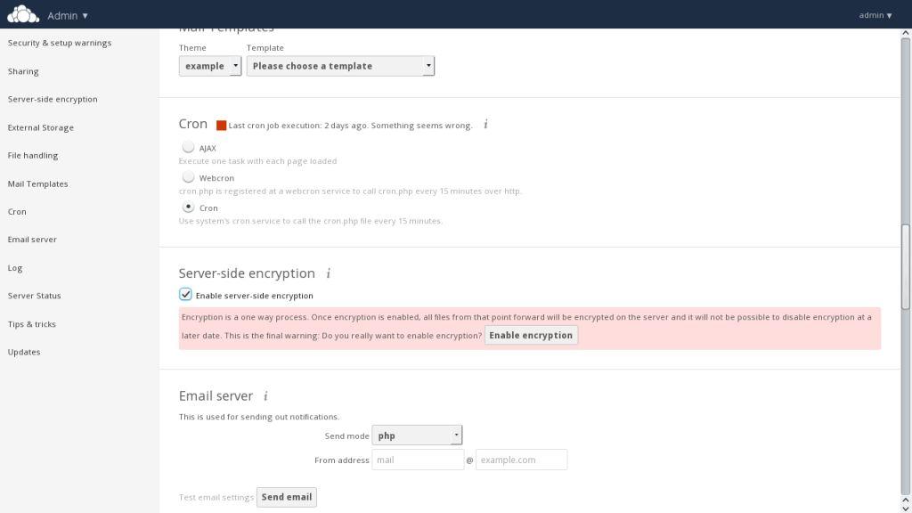 ownCloud 8.1 Verschlüsselungsoptionen. (Screenshot: ownCloud)