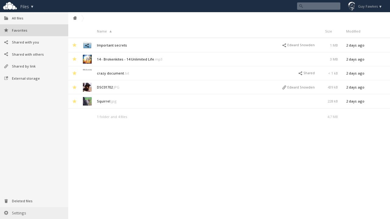 ownCloud 8.1 Favoriten (Screenshot: ownCloud).