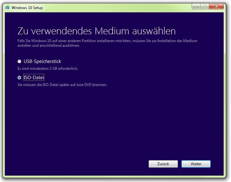 Das Media Creator Tool kann einen bootfähigen USB-Stick erstellen oder Windows 10 als ISO-Datei speichern (Screenshot: ZDNet.de).
