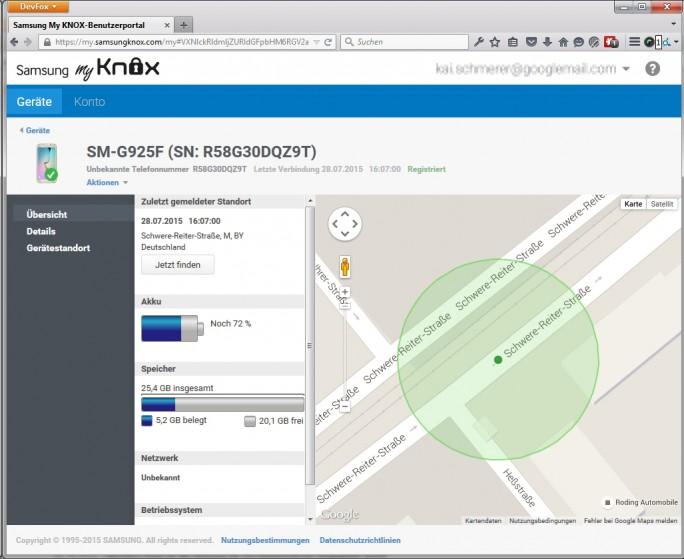 Das Samsung MyKnox-Portal ergänzt den Android-Gerätemanager und bietet Anwendern die Verwaltung des eigenen Smartphones (Screenshot: Kai Schmerer).